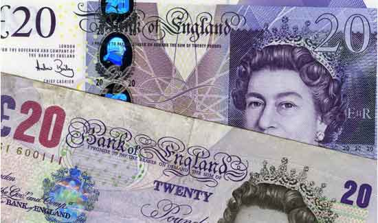 Old and new £20 note illustrating that landlords could save money using an online letting agent.