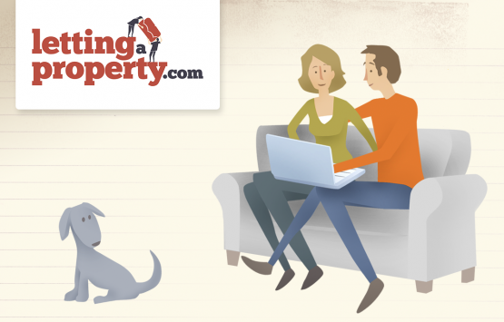 Cartoon characters showing a man and women sat on a couch with laptop researching which online letting agents to choose.