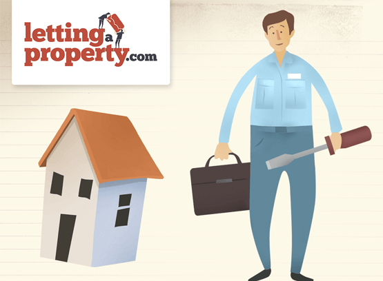 Cartoon male standing next to a house holding a suitcase in one hand and screwdriver in the other.