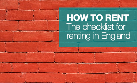 Brick wall with sign reading how to rent guide - The checklist for renting in England.