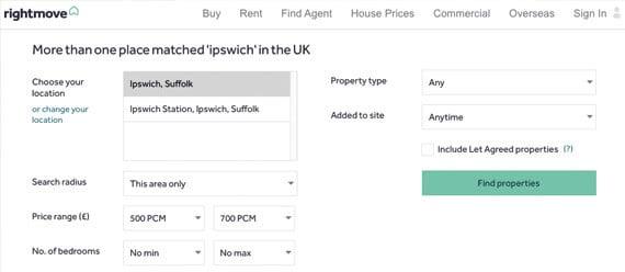 Rightmove website searching for property to rent