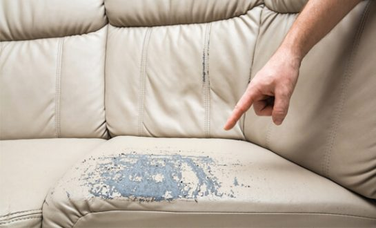 Sofa with damage recorded on the landlord inventory