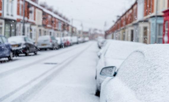 Properties in a snowy street