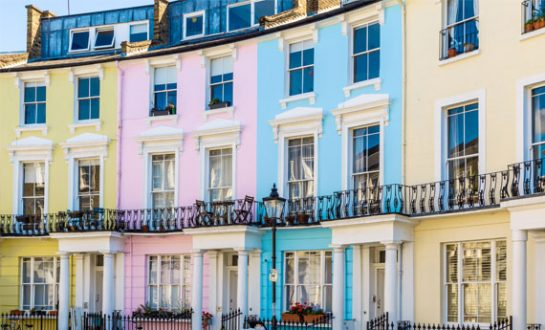 Brightly painted English HMO properties