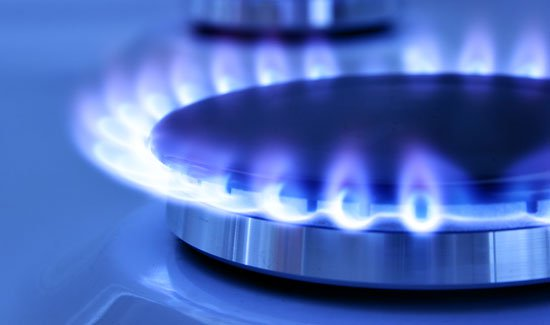 Gas hob burning showing signs of carbon monoxide