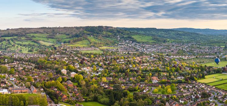 An aerial view of Cheltenham