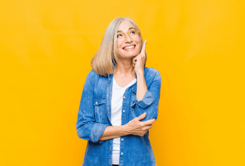 Lady in front of yellow background