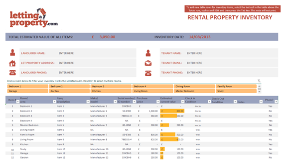 Tenant check in letting a property for Inventory for rental property template