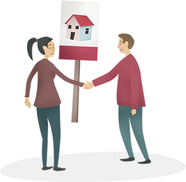 Landlord and tenant shaking hands in front of a To-Let sign.