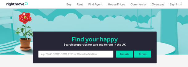 Illustration of how to advertise on rightmove.co.uk website home page