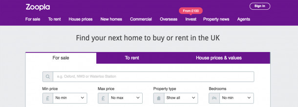 Illustration of the Zoopla.co.uk website.